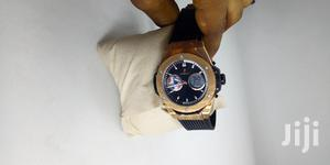 Hublot Chronograph Digital/Analog Rose Gold Rubber Strap Watch | Watches for sale in Lagos State, Lagos Island (Eko)