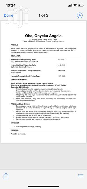 Internal Recruitment Graduate Trainee | Accounting & Finance CVs for sale in Lagos State, Lagos Island (Eko)