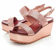 Italian Rose Gold Black White Wedge Platform Sandals | Shoes for sale in Lagos State, Lekki Phase 1