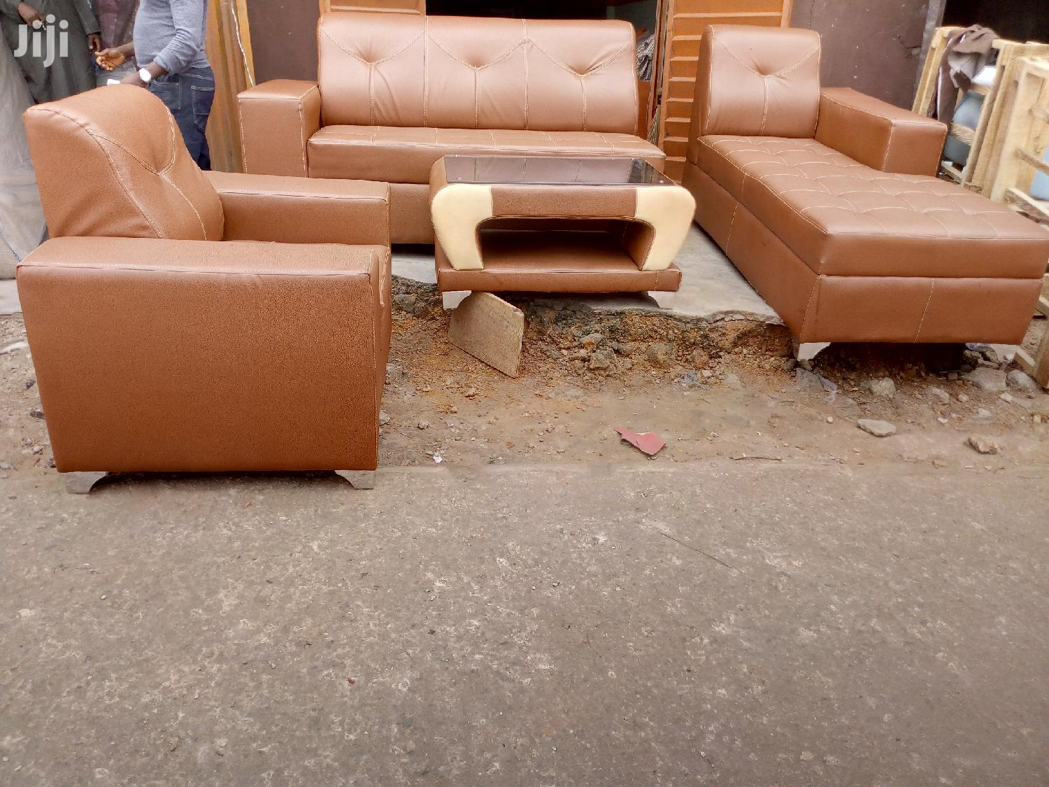 L-shape Leather Sofa With Center Table | Furniture for sale in Ikeja, Lagos State, Nigeria