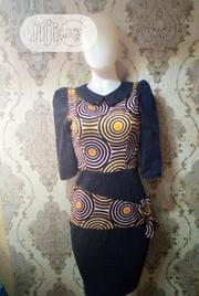 Dennim Peter Pan With Ankara Dress.   Clothing for sale in Lagos State, Gbagada