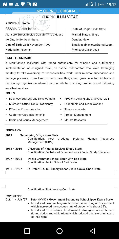 Office job   Customer Service CVs for sale in Lekki, Lagos State, Nigeria