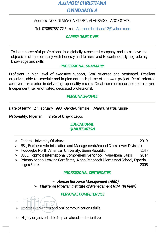 Graduate Cv   Accounting & Finance CVs for sale in Alimosho, Lagos State, Nigeria