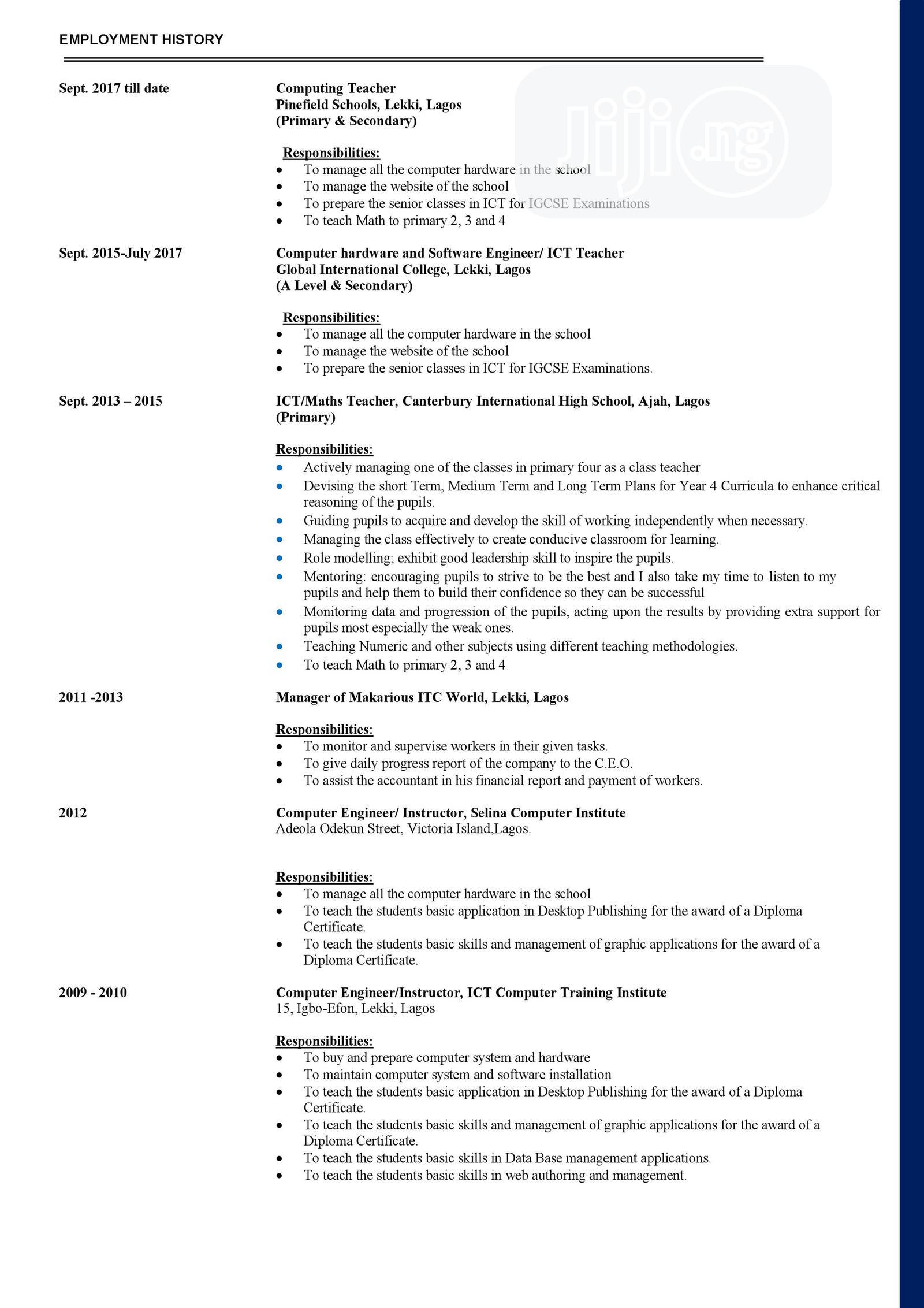 Shipping Manager | Logistics & Transportation CVs for sale in Lagos Island (Eko), Lagos State, Nigeria