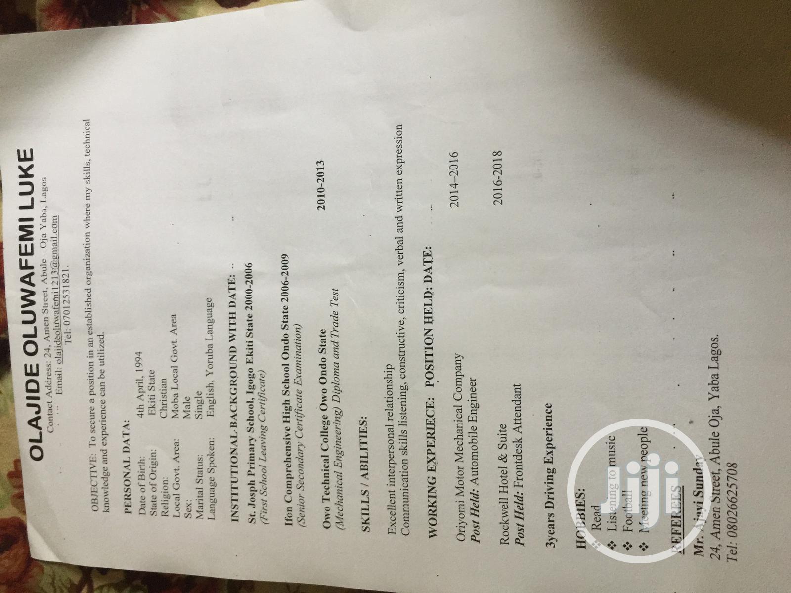 Hotel CV   Hotel CVs for sale in Lekki, Lagos State, Nigeria