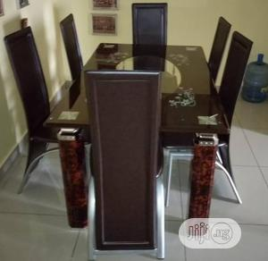 Quality Strong Six Seater Tinted Glass Dining Table | Furniture for sale in Akwa Ibom State, Eket
