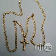 Solid ITALY 750 Pure 18krt Gold New Levis Wit Crucifix | Jewelry for sale in Lagos State, Lagos Island