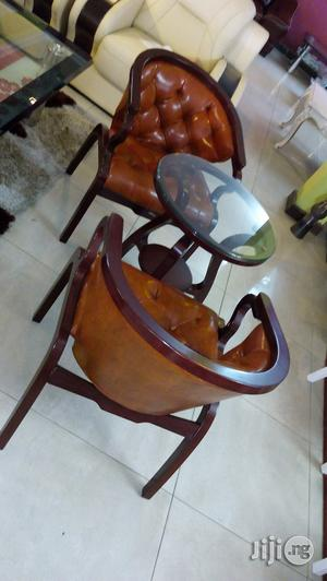 Set Glass Center Table And Wooden Chair | Furniture for sale in Lagos State, Ikeja