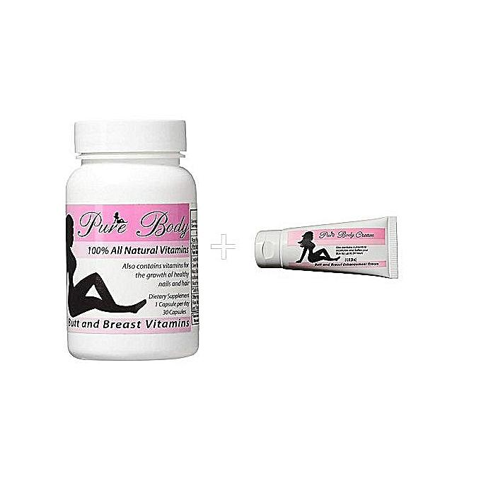 Pure Body Butt & Breast Enhancement Vitamins & Creams Combo