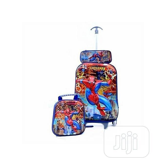 3 In 1 Spiderman Kiddies Trolley School Bag Set