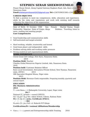 Sales & Telemarketing CV   Sales & Telemarketing CVs for sale in Abuja (FCT) State, Central Business District