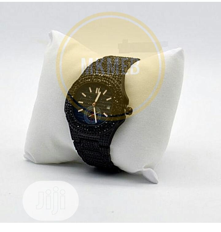 Fashion Men's Iced Stones Strap Bracelet Watch-Black