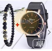 Geneva 2 in 1 Black Bracelet and Modern Strap Wristwatch | Jewelry for sale in Lagos State, Amuwo-Odofin