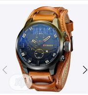 Luxury Top Brand Curren Leather Strap Military Sport Watch. | Watches for sale in Lagos State, Amuwo-Odofin