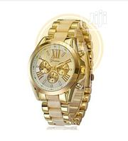 Geneva New Studded Men Unisex Women Female Chain Wrist Watch-Gold | Watches for sale in Lagos State, Amuwo-Odofin
