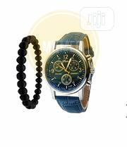 Leather Strap Watch + Free Bead Bracelet - Blue/Black | Watches for sale in Lagos State, Amuwo-Odofin