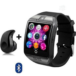 Q18 Smartwatch for Android IOS + Bluetooth Earphone-Black   Smart Watches & Trackers for sale in Lagos State, Ikeja