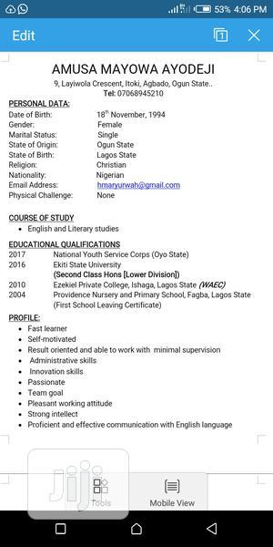 Advertising & Marketing CV | Advertising & Marketing CVs for sale in Oyo State, Ibadan