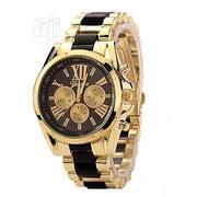 Geneva Full Steel Rhinestone Wrist Watch. - Gold And Black | Watches for sale in Lagos State, Ikeja