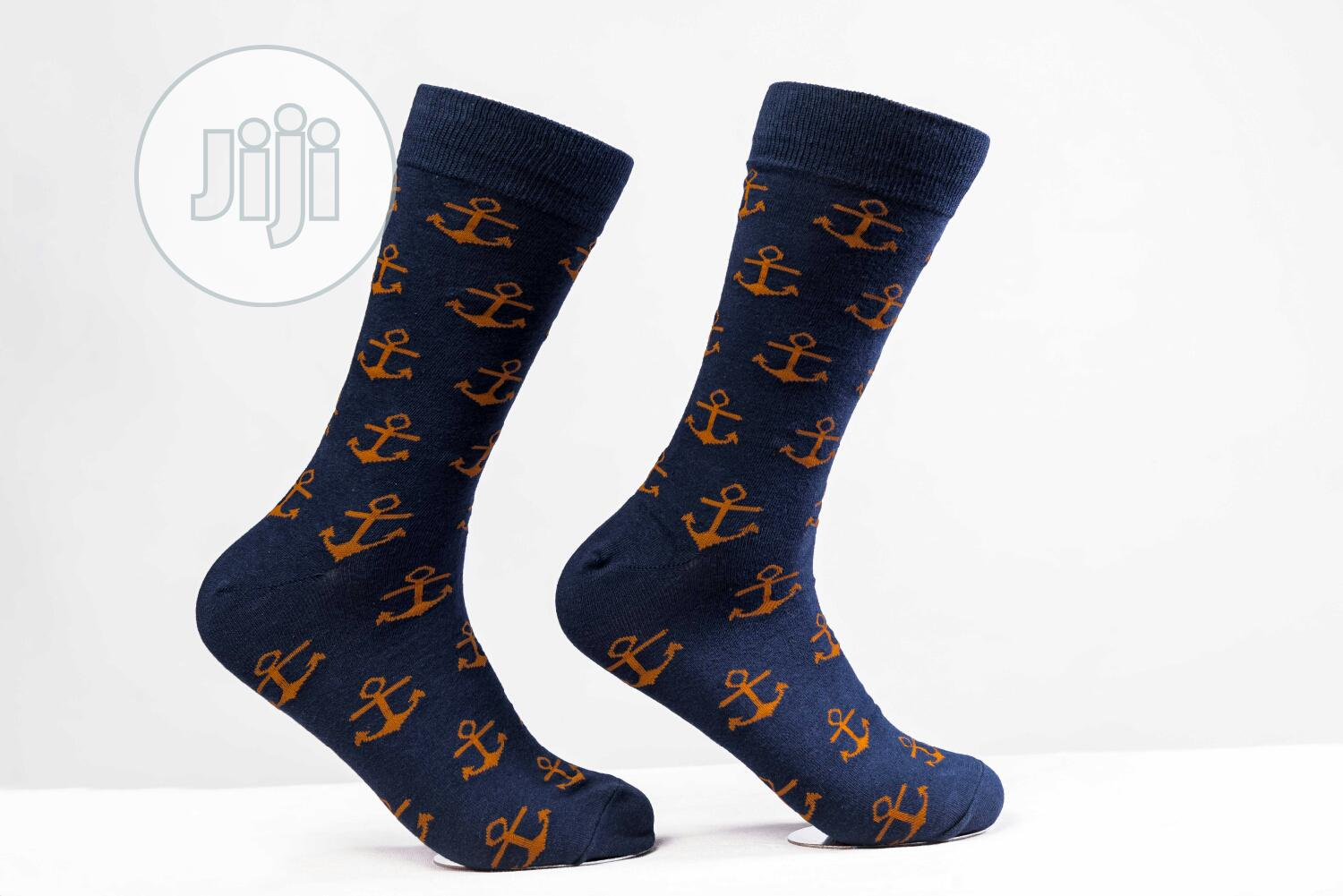 Archive: Luxury Colourful Socks Blue Anchor