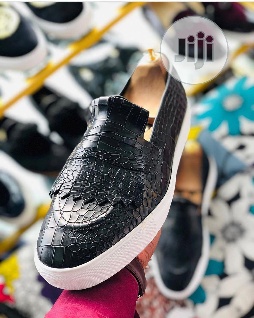 Archive: Casual Skin Leather Loafers With White Sport Sole
