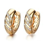 Classic Design Gold Color AAA CZ Wedding Hoop Earrings | Jewelry for sale in Niger State, Minna