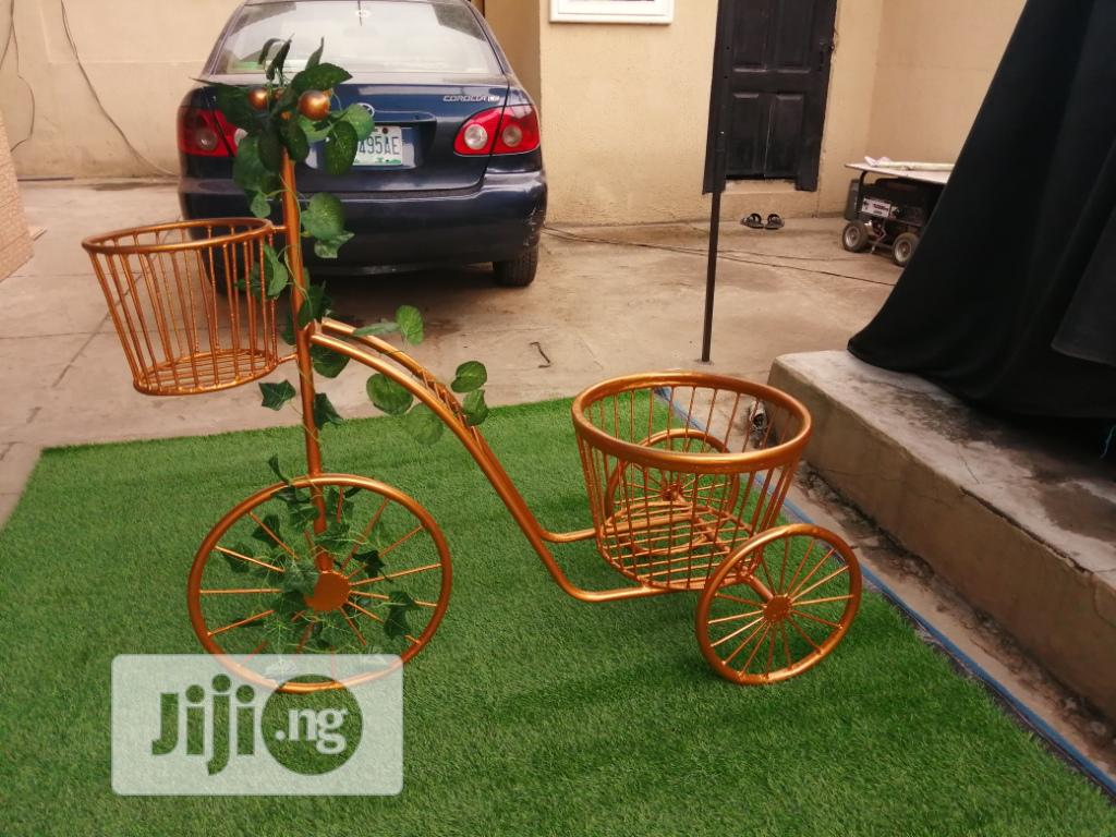 Fabricated Tricycle Cart Planter Stand Available For Outdoor Decor