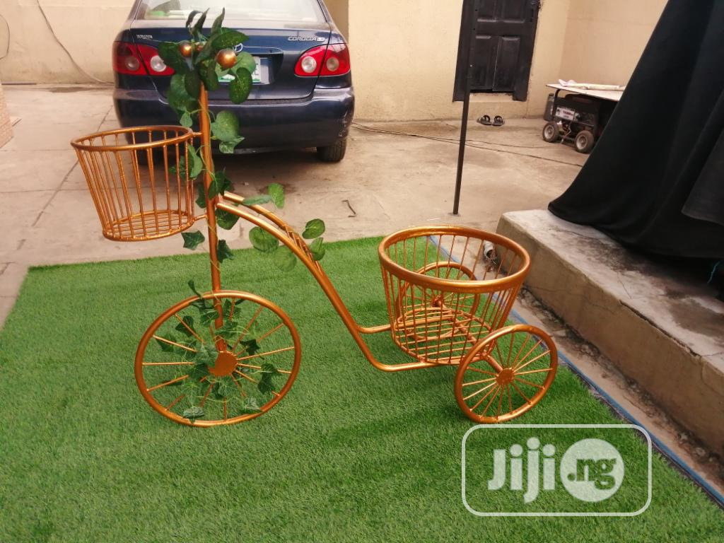 Fabricated Tricycle Cart Planter Stand Available For Outdoor Decor   Manufacturing Services for sale in Makurdi, Benue State, Nigeria