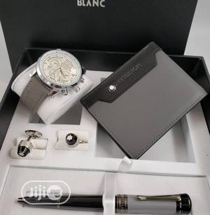 Montblanc Chronograph Silver Leather Strap Watch And Pen/Cufflinks | Watches for sale in Lagos State, Lagos Island (Eko)