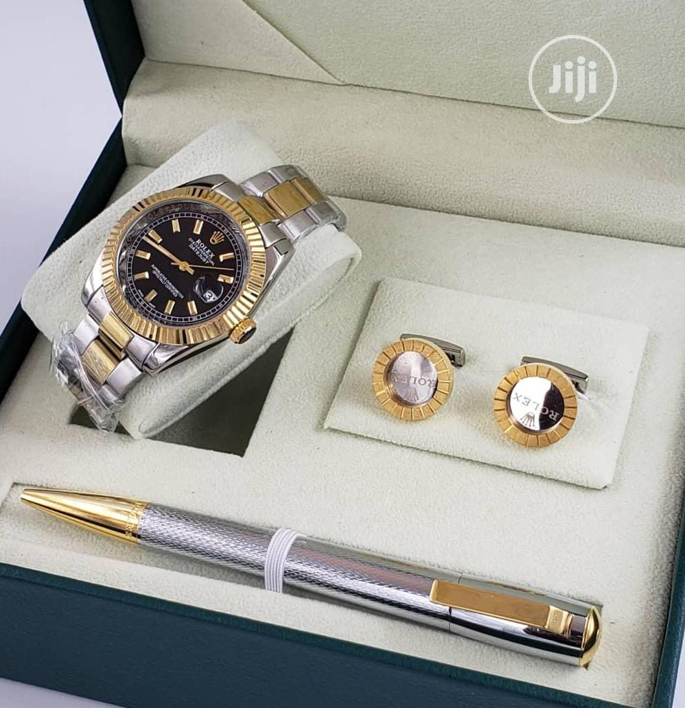 Rolex Oyster Perpetual Gold/Silver Chain Watch and Pen/Cufflinks