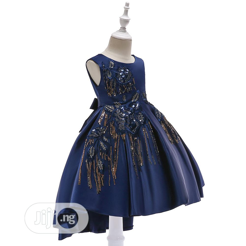 Navy Blue Sequined Children Dress | Children's Clothing for sale in Ilesa, Osun State, Nigeria