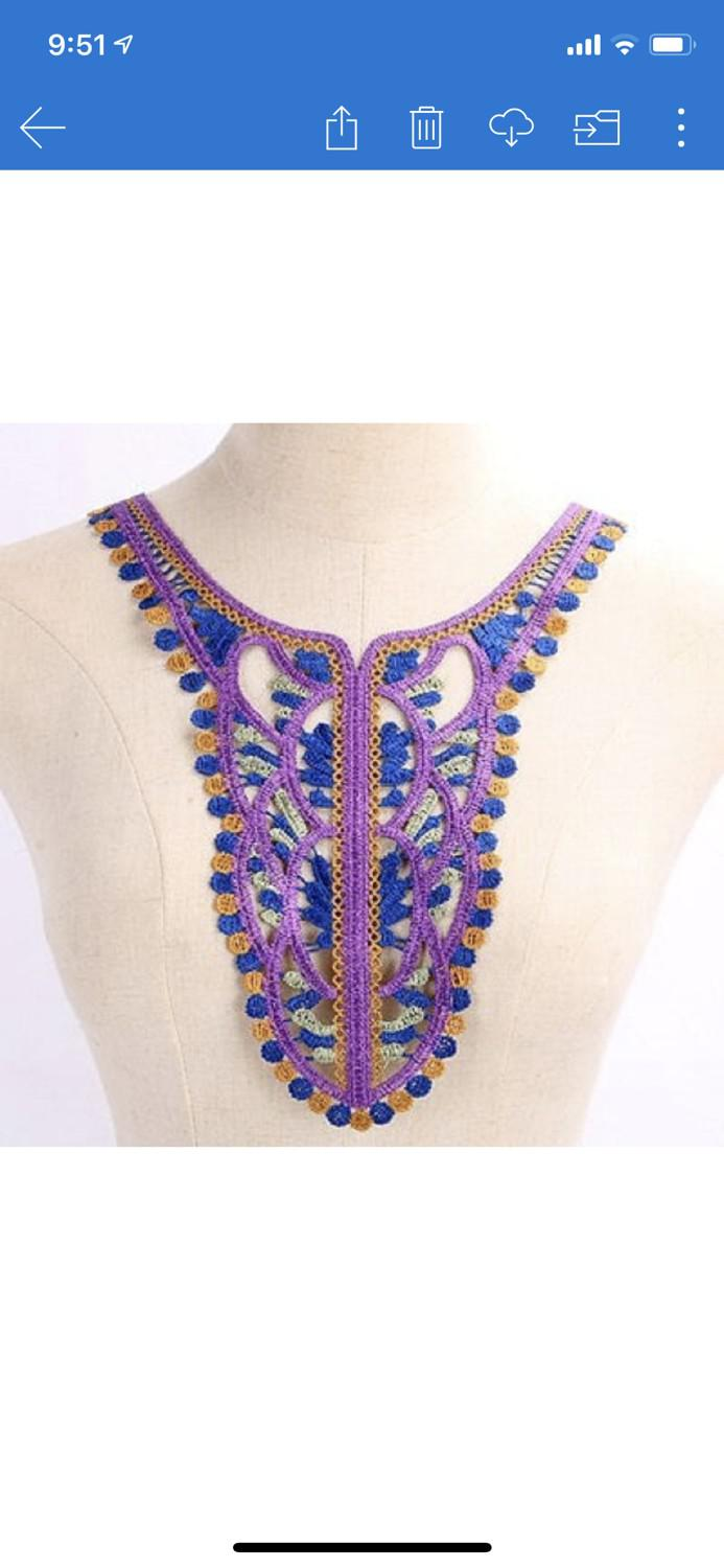 Purple Danshiki Style Neck Appliqué