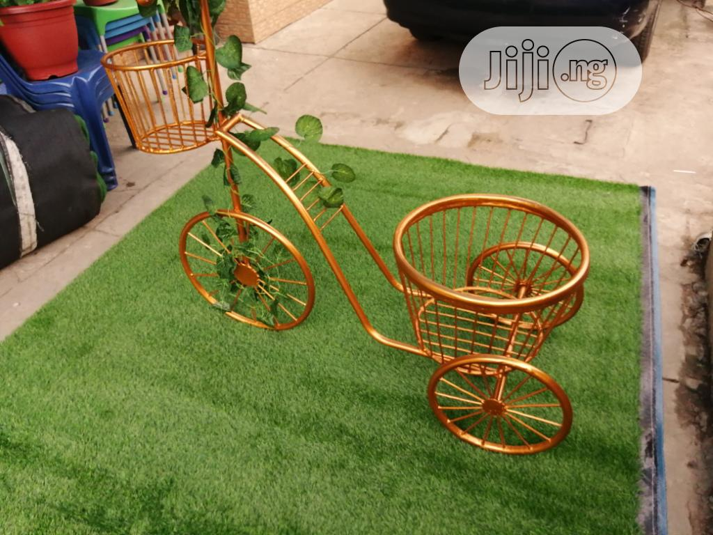 Gold Colour Tricycle Planter Stand For Beautification Of Homes