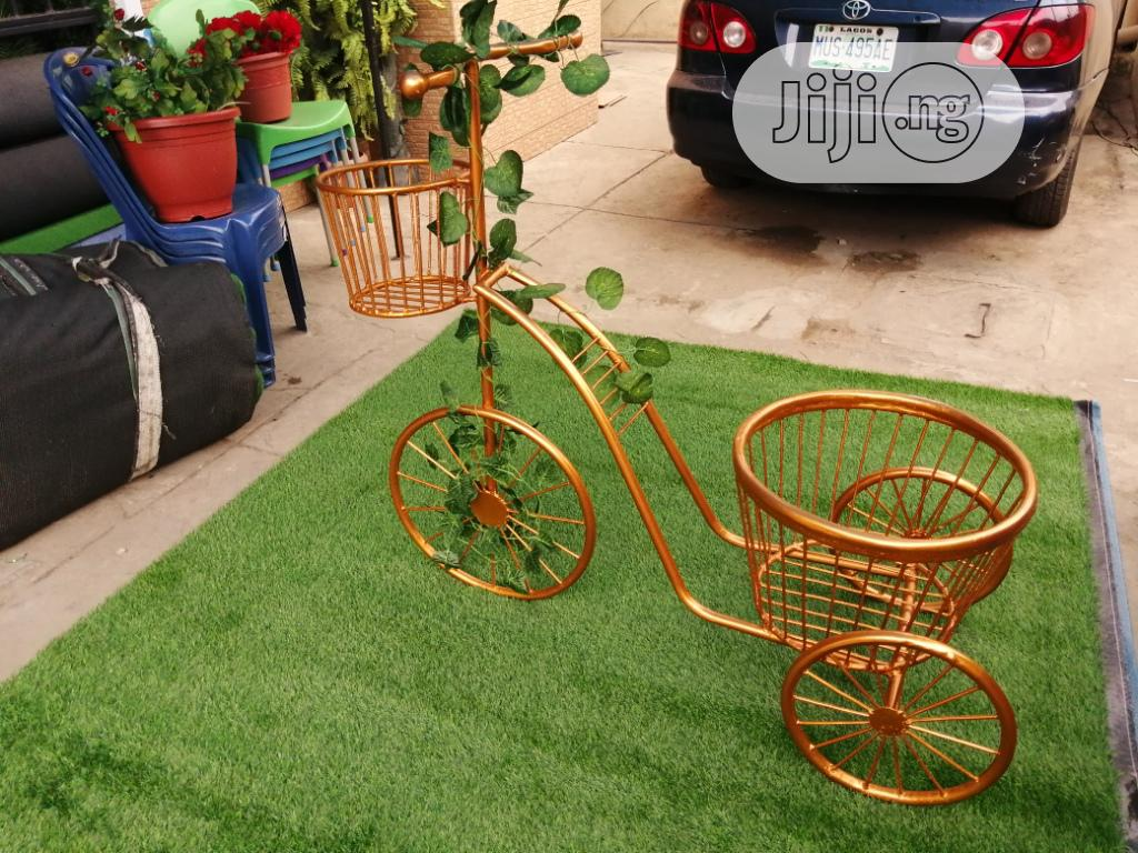 Gold Colour Tricycle Planter Stand For Beautification Of Homes   Manufacturing Services for sale in Ado Ekiti, Ekiti State, Nigeria