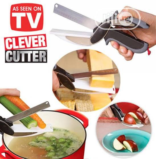 2 In 1 Stainless Steel Scissors Kitchen Knife Clever Cutter