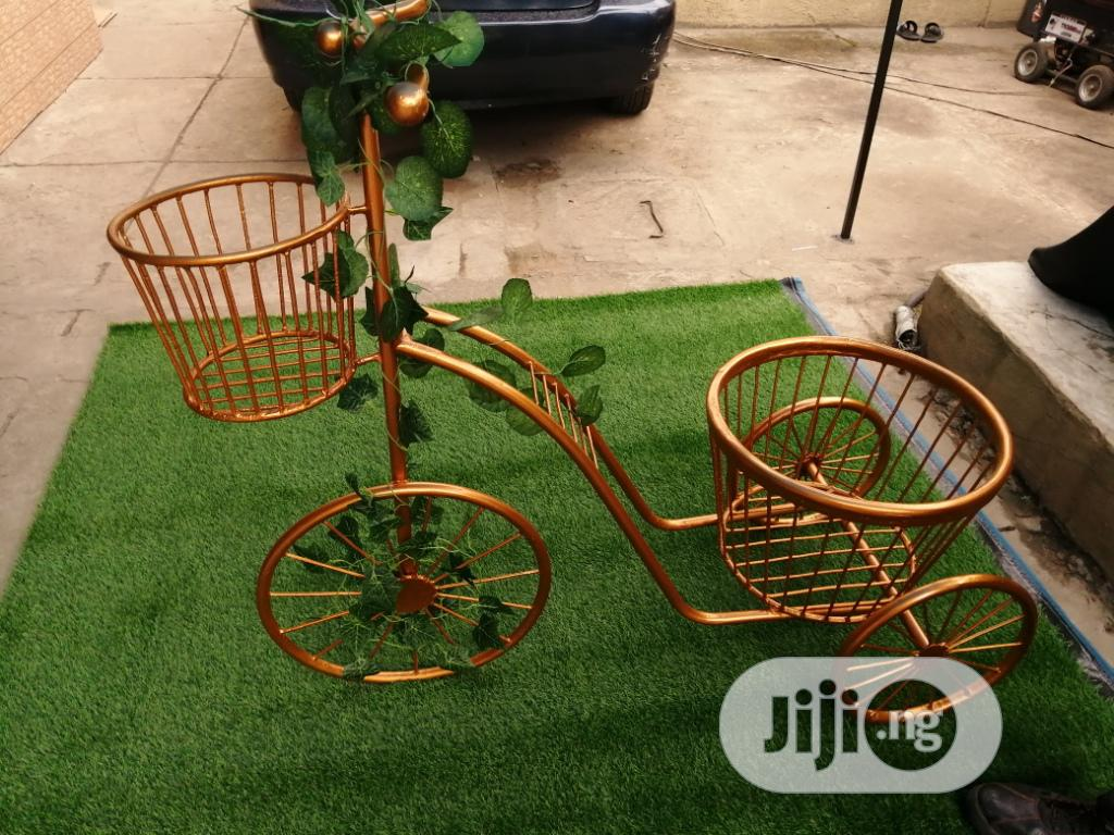 Golden Tricycle Vase/Pot Stands On Sale Across The Nation At Low Price | Manufacturing Services for sale in Lokoja, Kogi State, Nigeria
