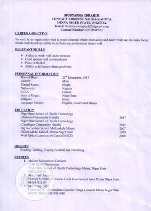 Health Clinical Officer - Mubi | Healthcare & Nursing CVs for sale in Niger State, Chanchaga
