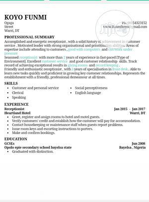 Receptionist | Hotel CVs for sale in Delta State, Ugheli