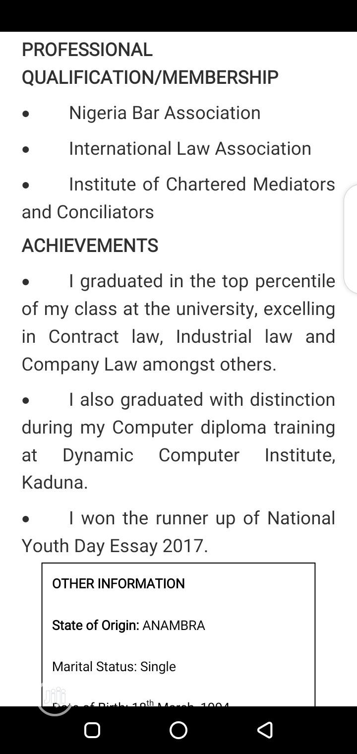 Junior Legal Officer | Legal CVs for sale in Ikeja, Lagos State, Nigeria