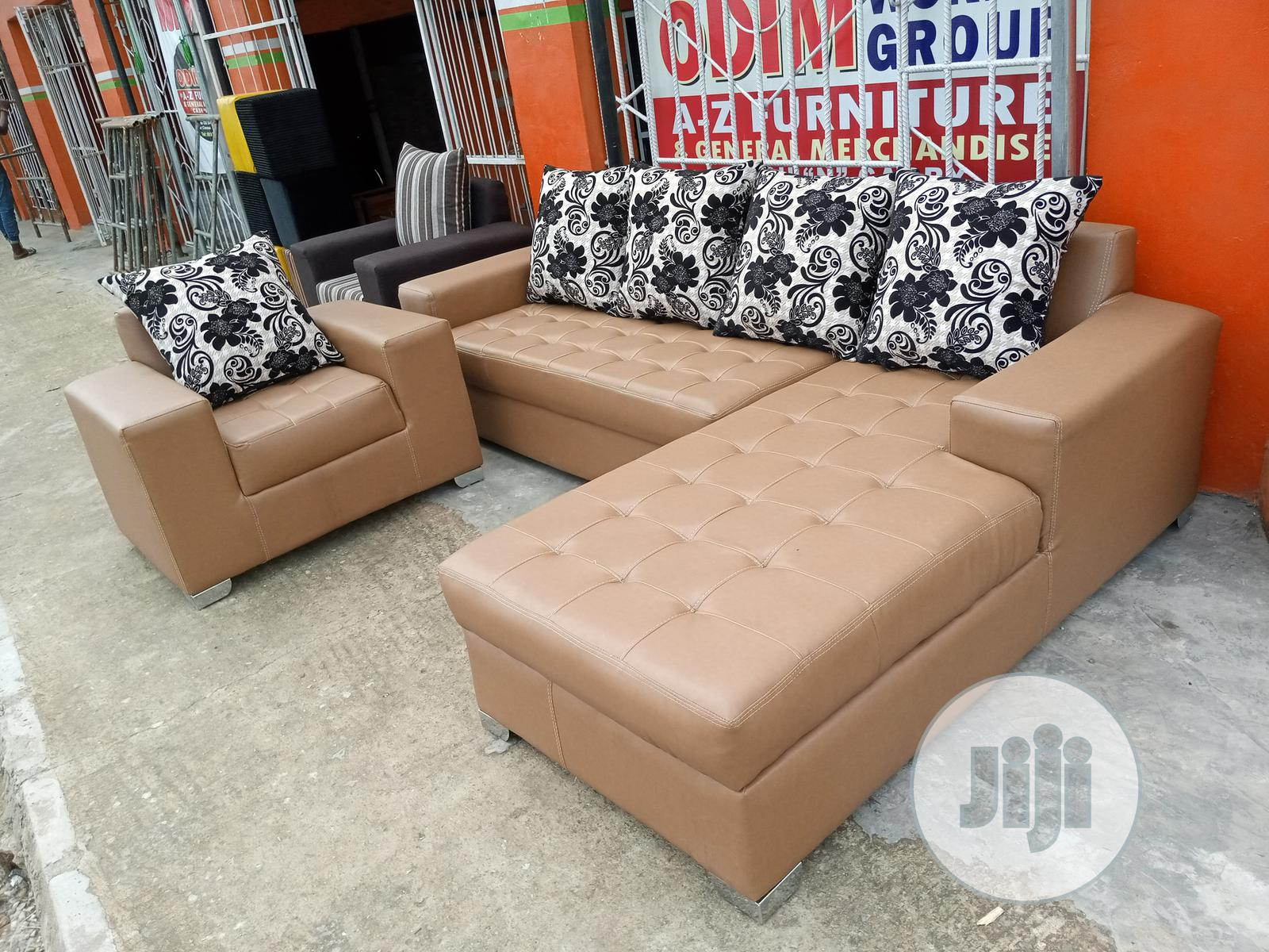 Archive: Set of L-Shaped Sofa With Single Seater Chair - Leather Couches