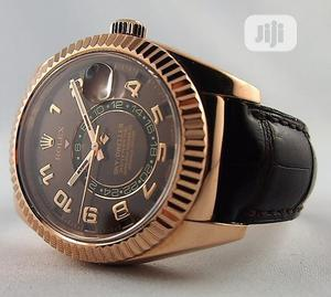 Rolex (SKY DWELLER) Rose Gold Leather Strap Watch   Watches for sale in Lagos State, Lagos Island (Eko)