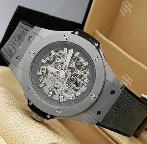 Hublot Chronograph Dull Silver Leather Strap Watch | Watches for sale in Lagos State, Lagos Island (Eko)