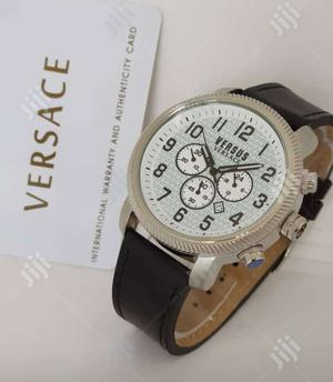 Versace Chronograph Silver Leather Strap Watch | Watches for sale in Lagos State, Lagos Island (Eko)