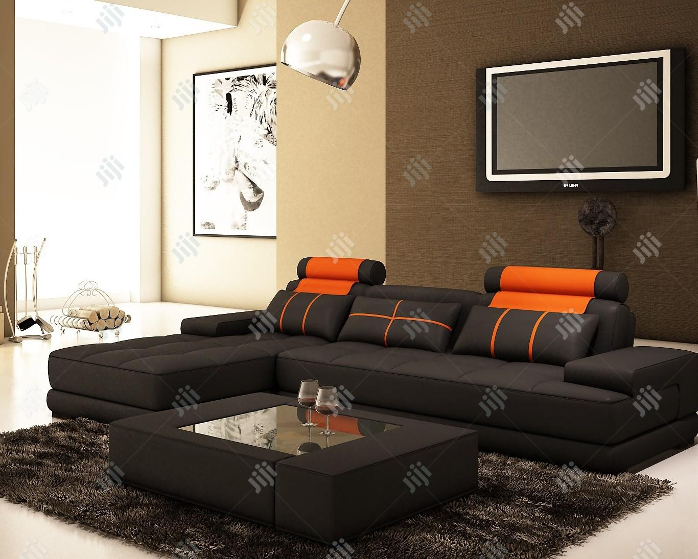L-shape Leather Sofa With Center Table
