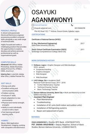 Programmer Intern/Junior Software Developer   Computing & IT CVs for sale in Lagos State, Alimosho