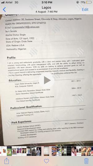 Customer Services Representative   Customer Service CVs for sale in Lagos State, Alimosho