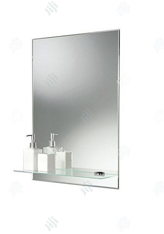 Square Mirror And Shelves Toilet And Bathroom
