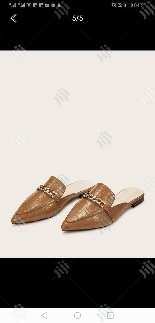 Genuine Brown Leather Ladies Half Shoes
