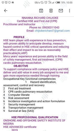Health Safety And Environmental Services   Healthcare & Nursing CVs for sale in Rivers State, Port-Harcourt