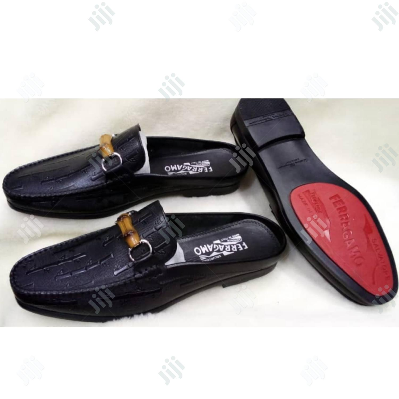 Quality Ferragamo Half Leather Shoe For Men
